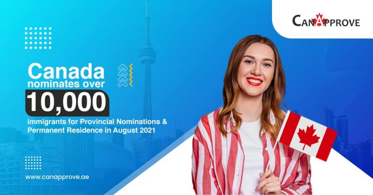 Canada nominates over 10,000 immigrants for Provincial Nominations & Permanent Residence in August 2021.